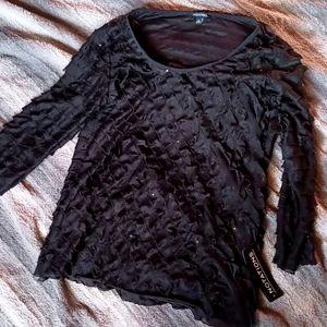 Black ruffled XL blouse